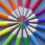 color wheel of colored pencils