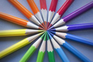 color wheel of colored pencils